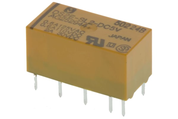 Product image for Relay,Latching,DPDT-NO/NC,5VDC,30DC,PCB