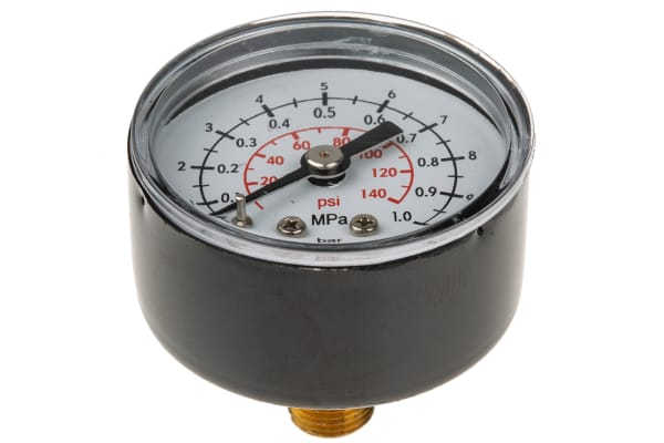 Product image for IMI Norgren 18-013-989 Analogue Positive Pressure Gauge Back Entry 10bar, Connection Size R 1/8