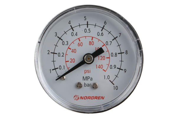 """Product image for 0 TO 10 BAR GAUGE, 50MM DIA, 1/8"""" BSPT"""