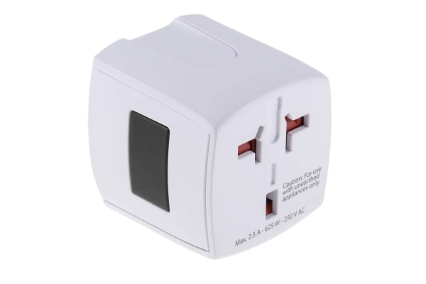 Product image for RS PRO Australia, China, Europe, Japan, UK, USA to Australia, China, Europe, Japan, UK, USA Travel Adapter, Rated At