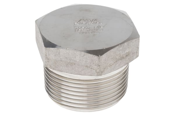 Product image for 1 1/4in F/Steel 316 Hex Plug Male Joint