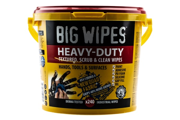 Product image for Big Wipes Wet Multi-Purpose Wipes for Heavy Duty Cleaning Use, Bucket of 240