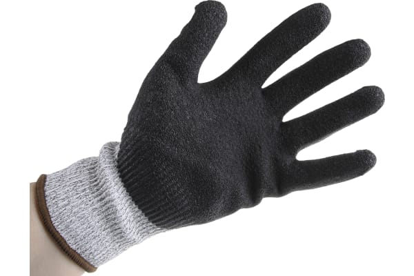 Product image for Black/grey cut 5 latex coated glove 9