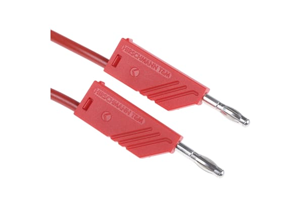 Product image for 4mm stackable plug 1.5m test lead, red