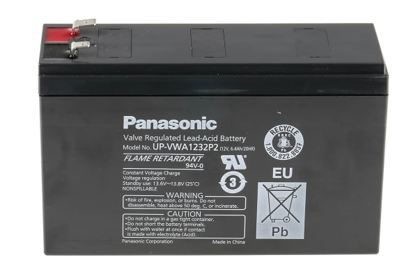 Product image for Panasonic UP-VWA1232P2 Lead Acid Battery - 12V, 6.4Ah