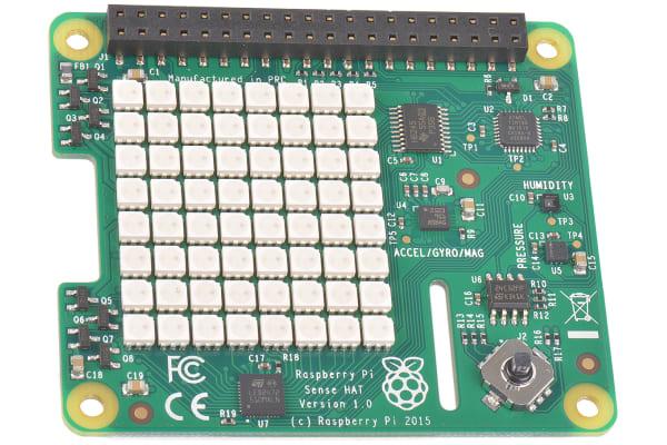Product image for Raspberry Pi Sense Hat, Sense Inertial Measurement Unit (IMU) - 11 DoF HAT for Raspberry Pi