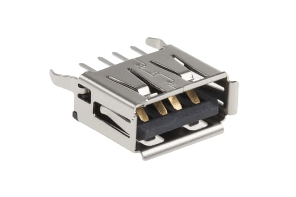 Product image for Type A 2.0mm shielded USB PCB receptacle