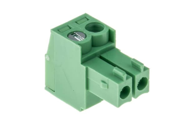 Product image for 3.5mm PCB terminal block, R/A plug, 2P
