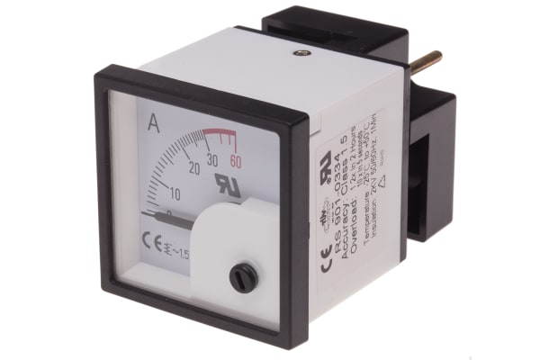 Product image for AC Ammeter 48x48 90 deg 0-30/60A