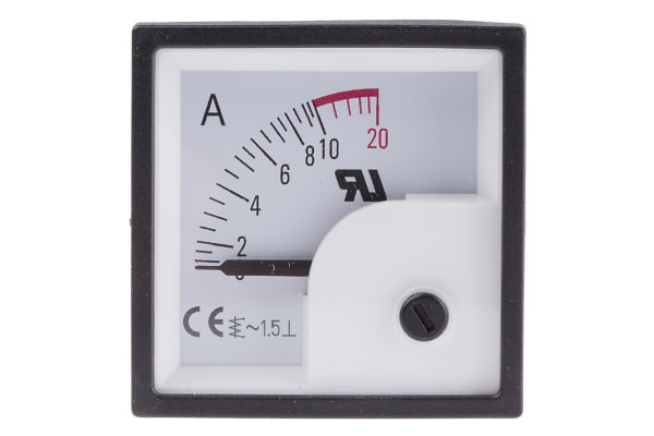 Product image for AC Ammeter 48x48 90 deg 0-10/20A