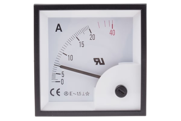 Product image for AC Ammeter 72x72 90 deg 0-20/40A