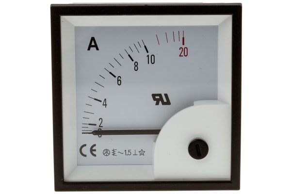 Product image for AC Ammeter 72x72 90 deg 0-10/20A