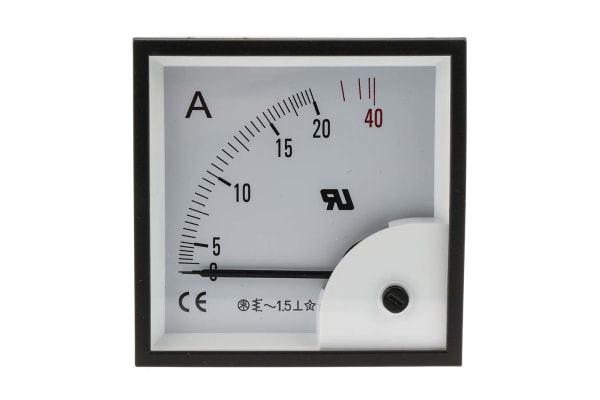 Product image for AC Ammeter 96x96 90 deg 0-20/40A