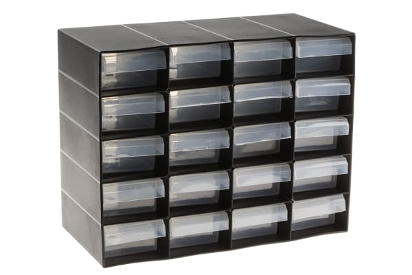 Product image for 20 DRAWER PLASTIC UNIT-BLACK