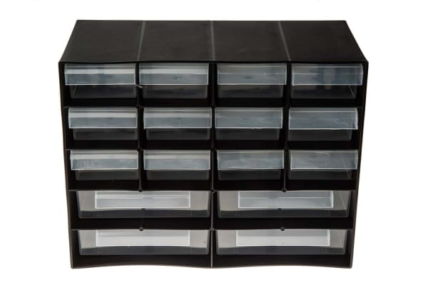 Product image for 16 DRAWER PLASTIC UNIT-BLACK
