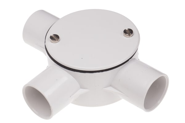 Product image for White PVC tee box for conduit,20mm