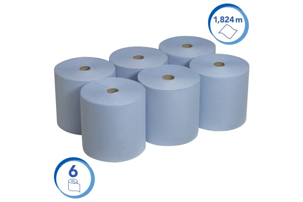 Product image for Kimberly Clark Scott® Rolled Hand Towels Rolled Blue 198 x 200mm Paper Towel, 7200 Sheets