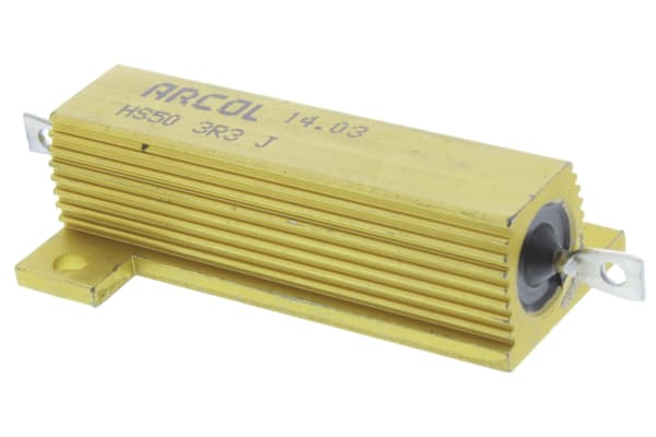 Product image for Arcol HS50 Series Aluminium Housed Axial Wire Wound Panel Mount Resistor, 3.3Ω ±5% 50W