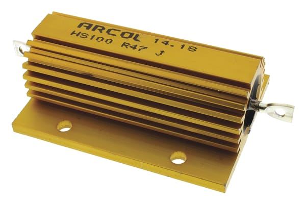Product image for Arcol HS100 Series Aluminium Housed Axial Wire Wound Panel Mount Resistor, 470mΩ ±5% 100W