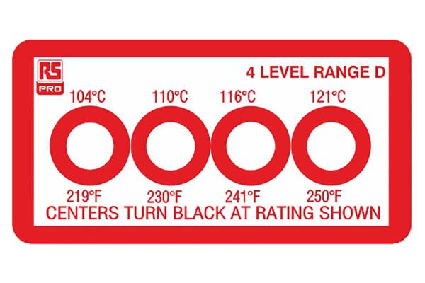 Product image for 4 level temp sensitive label,104-121degC