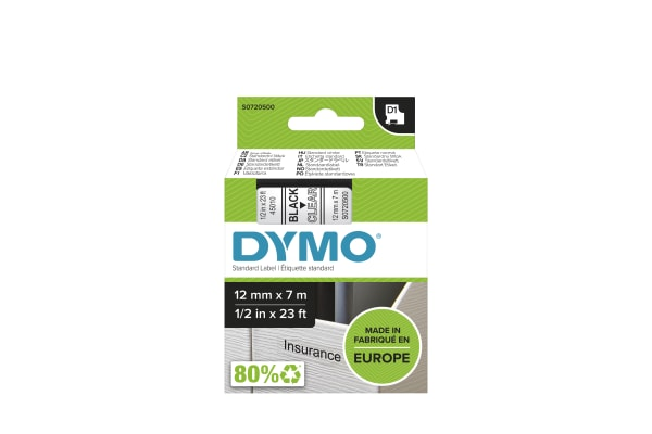 Product image for DYMO D1 BLK ON CLEAR LABELLING TAPE,12MM