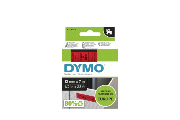 Product image for DYMO D1 BLACK ON RED LABELLING TAPE,12MM