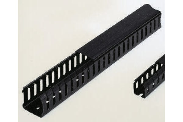 Product image for Betaduct Black Slotted Panel Trunking - Open Slot, W50 mm x D50mm, L2m, PVC