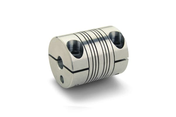 Product image for Ruland Aluminium Flexible Beam Coupling, PCMR25-6-6-A, Bore A 6mm Bore B 6mm Clamp
