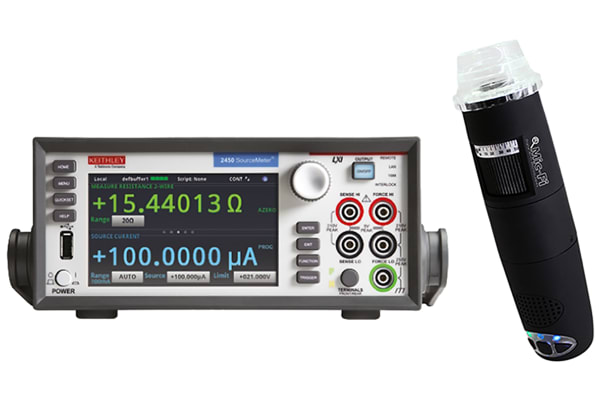 Product image for Keithley 2450 Sourcemeter + WiFi Microscope, 1 Ch, 20 Ω → 200 MΩ ±10 nA → ±1 A