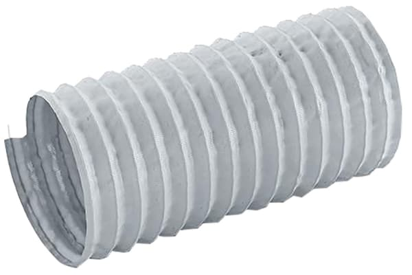 Product image for Merlett Plastics PET, PVC 12m Long Grey Flexible Ducting Reinforced, 152mm Bend Radius , Applications Fumes, Warm Air