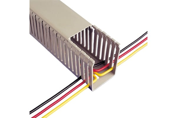 Product image for Betaduct Grey Slotted Panel Trunking - Open Slot, W50 mm x D50mm, L2m, PVC