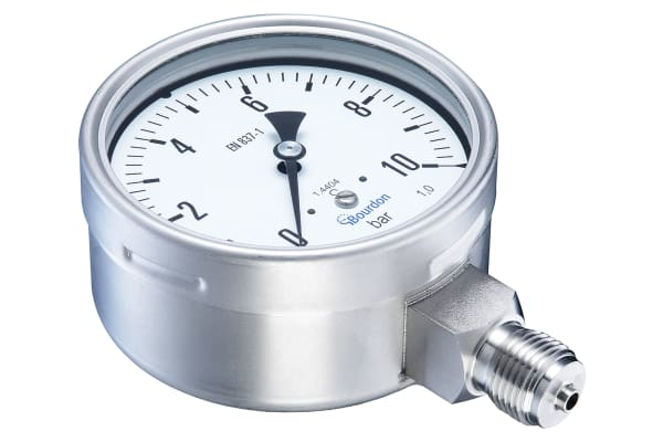 Product image for Bourdon MEX5D30B22 Hydraulic Pressure Gauge Bottom Entry 10bar, Connection Size G 1/2