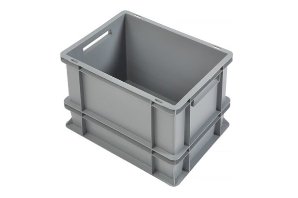 Product image for RS PRO 30L Grey PP Medium Euro Containers, 320mm x 300mm x 400mm