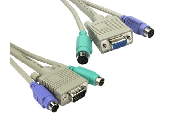Product image for 3mtr KVM HD15 VGA/SVGA M-F & 2 x PS/2 M-