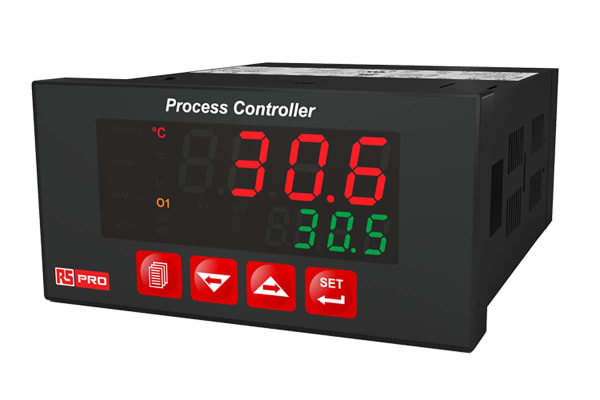 Product image for RS PRO DIN Rail PID Temperature Controller, 96 mm x 48 mm 1 Input, 2 Output Relay, 100 → 240 V ac Supply Voltage