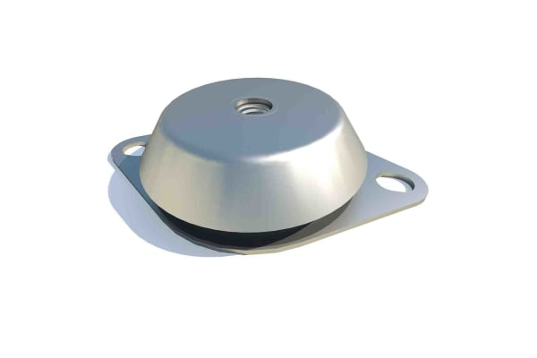 Product image for FIBET Circular M12 Zinc Plated Steel Bell Mount CCF1063812M 660daN Compression Load 106mm dia. Natural Rubber