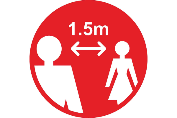 Product image for RS PRO Vinyl  Social Distancing 1.5m Apart Floor Sign, Self-Adhesive 400mm