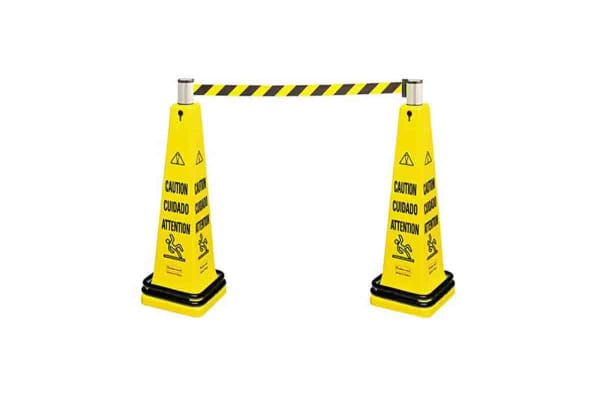 Product image for Rubbermaid Commercial Products Yellow Barrier, Extendable Barrier