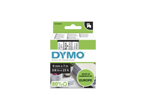 Product image for DYMO D1 BLK ON CLEAR LABELLING TAPE,9MM