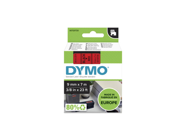 Product image for DYMO D1 BLACK ON RED LABELLING TAPE,9MM