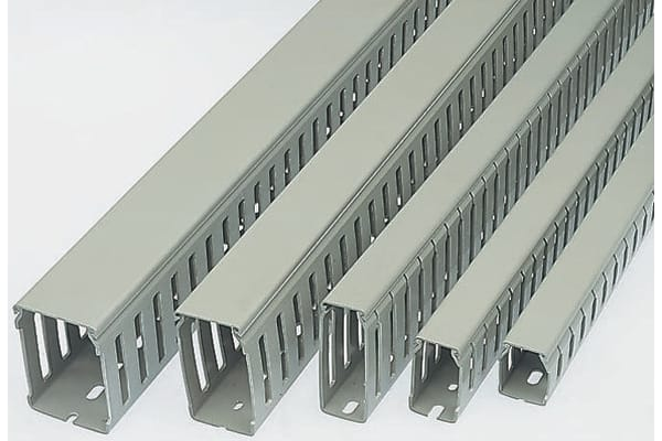 Product image for Betaduct Grey Slotted Panel Trunking - Open Slot, W37.5 mm x D37.5mm, L2m, PVC
