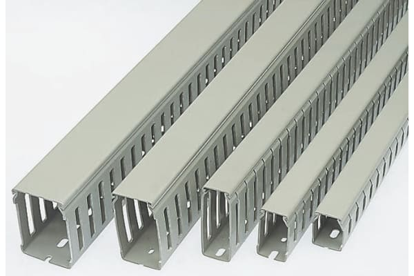 Product image for Betaduct Grey Slotted Panel Trunking - Open Slot, W25 mm x D37.5mm, L2m, PVC