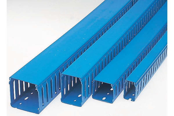 Product image for BLU PVC OPEN SLOT TRUNKING75HX50WMM 2M L