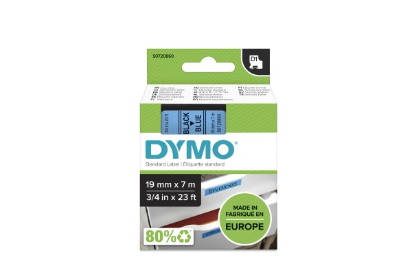 Product image for DYMO D1 BLACK ON BLU LABELLING TAPE,19MM