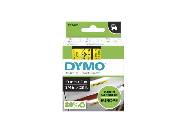 Product image for DYMO D1 BLACK ON YEL LABELLING TAPE,19MM