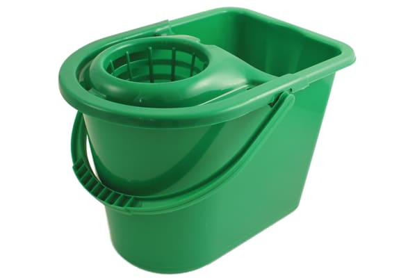 Product image for Green bucket with wringer, 15 litre