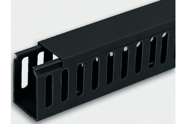 Product image for Blk PVC closed slot trunking30x25mm 2m L