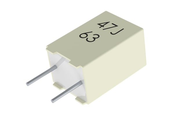 Product image for R82 radial poly cap,100nF 63V 5mm