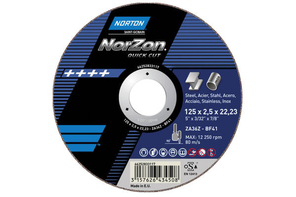 Product image for Norton Cutting Disc Aluminium Oxide Cutting Disc, 230mm x 3.2mm Thick, P150 Grit, 5 in pack, Norzon
