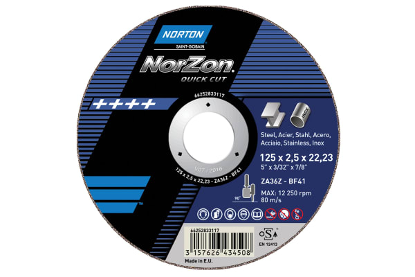Product image for Norton Cutting Disc Aluminium Oxide Cutting Disc, 115mm x 2mm Thick, P80 Grit, 5 in pack, Norzon